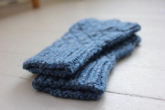 Adult or Teen Fingerless Gloves/Blue by TinkerCreekHandknits