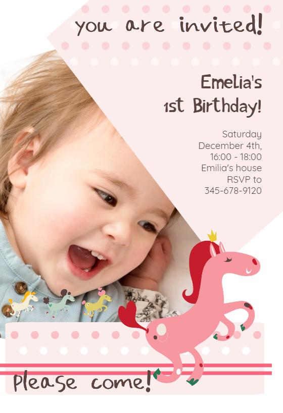 Prancing Pony Invitacion De Cumpleanos Gratis Greetings Island Baby Birthday Invitations Baby Birthday Invitation Card First Birthday Invitation Cards