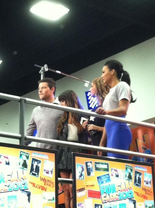 Naya, Cory + Lea prepping for press.