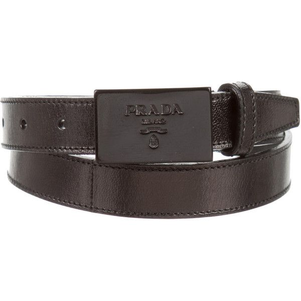 e92208e4849bd4 Pre-owned Prada Leather Logo Belt ($65) ❤ liked on Polyvore featuring  accessories, belts, black, embellished belt, prada belt and prada