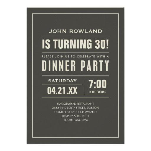 30th Birthday Dinner Party Invitations For Men