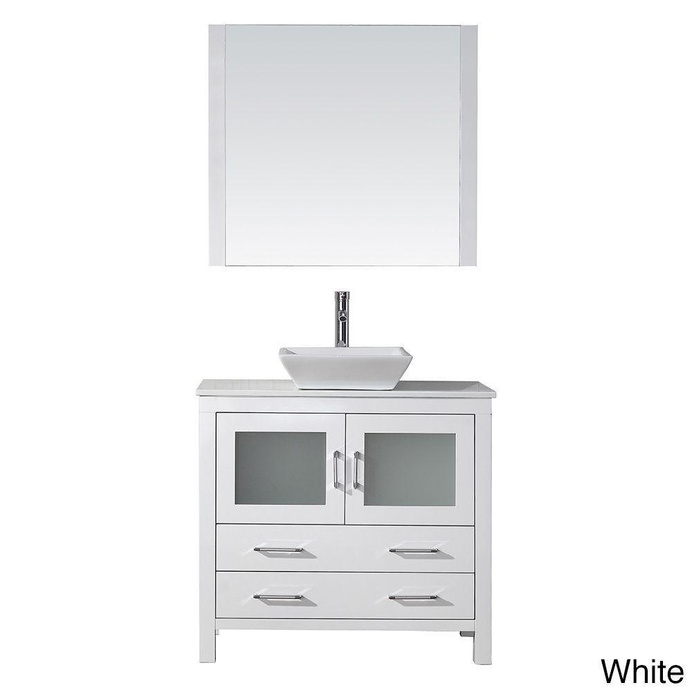 Virtu USA Dior 36-inch Stone Top Single Bathroom Vanity Set with ...