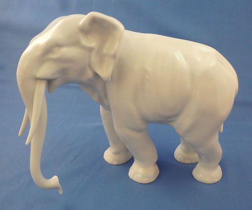 Antique Herend White Elephant Figurine Porcelain Collectible