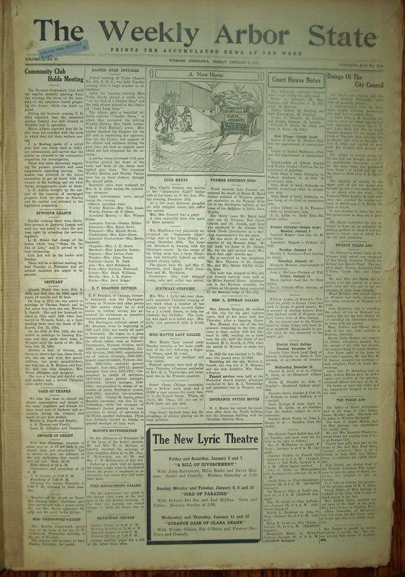 Bound Newspaper Collection Wymore Nebraska History 1933