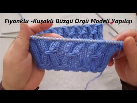 Fiyonklu Kuşaklı Büzgü Örgü Modeli Yapımı Türkçe Anlatımlı Videolu