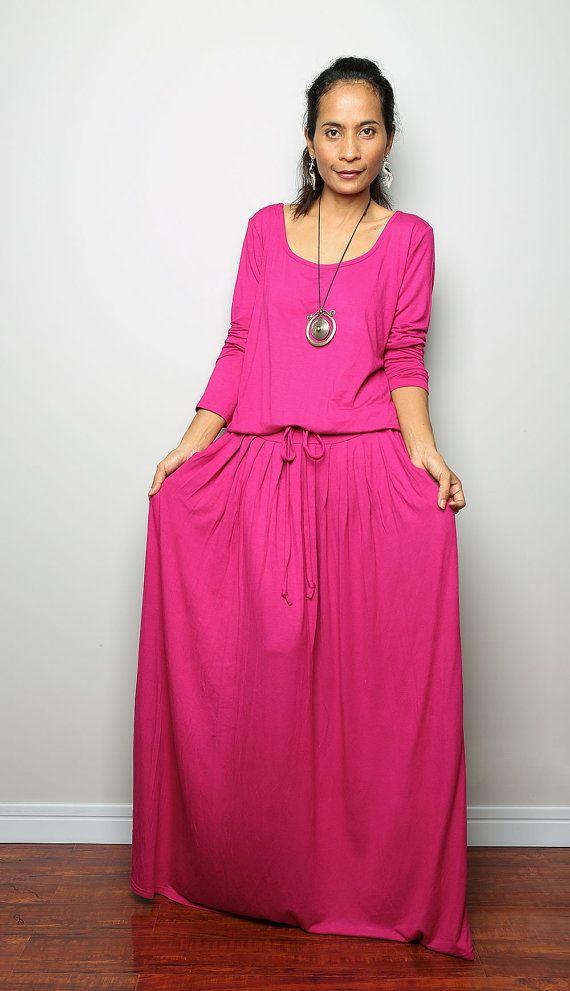 Maxi Dress Hot Pink Fuchsia Long Sleeve Dress Autumn Thrills