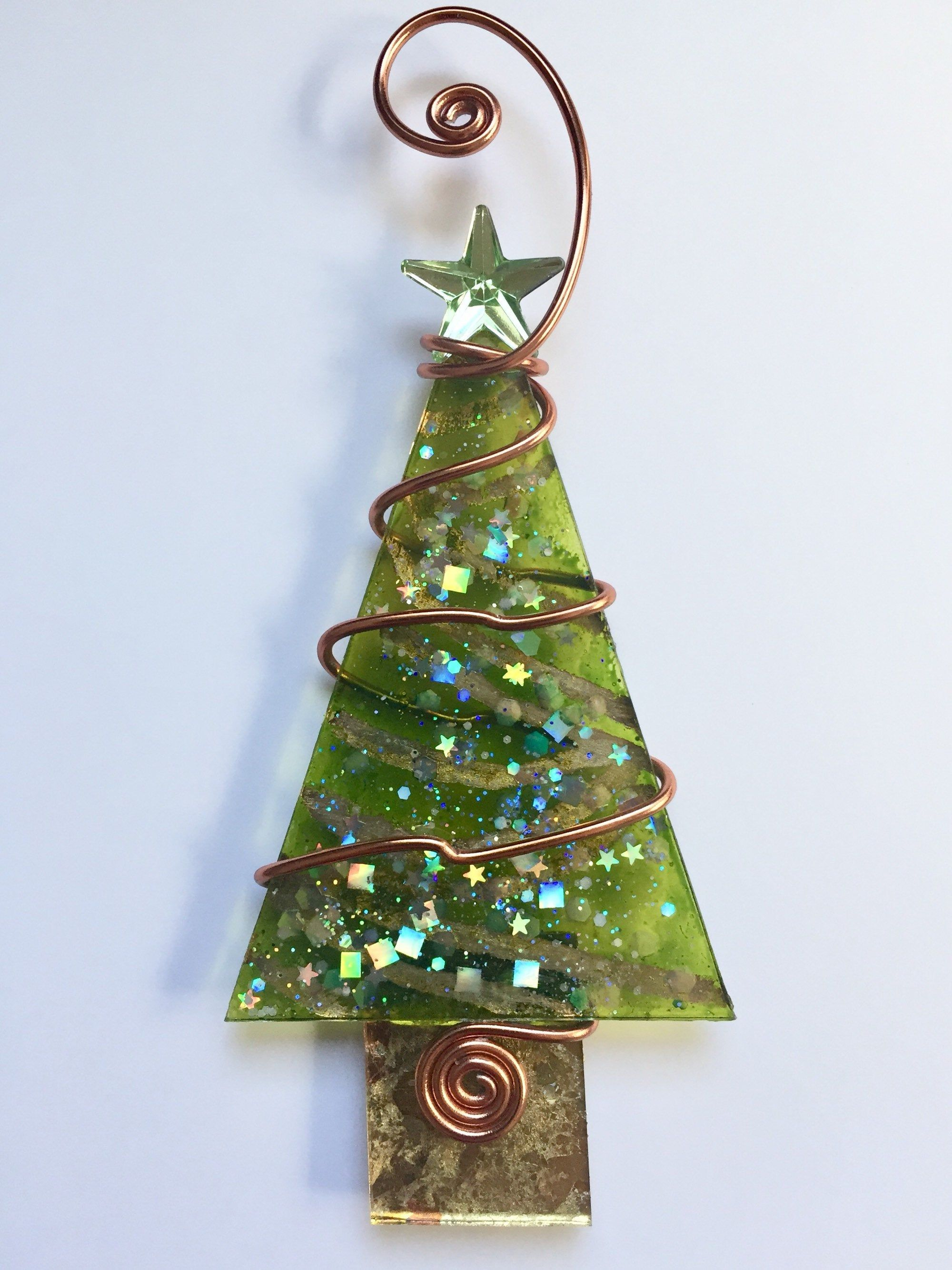 Christmas Green And Gold Foil Tree With Wire Wrapping Glass Etsy Stained Glass Christmas Metal Christmas Tree Glass Christmas Tree Ornaments