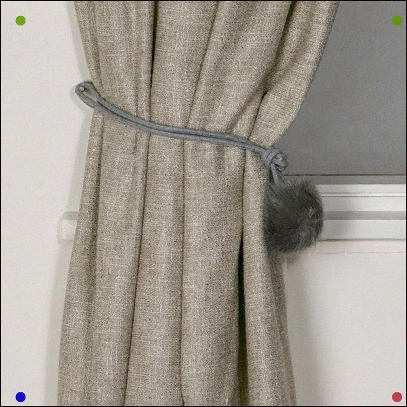 Fluffy Gray Pompom Curtain Tiebacks Grey Fur Fluffy Curtains Decor Homedecor Pretty Cute Rideaux Decoration