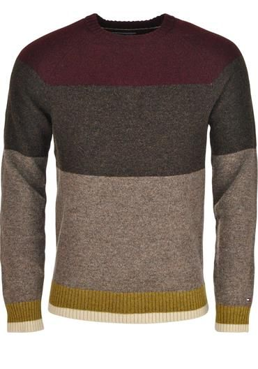 Tommy Hilfiger Mens Statement Colour Block Wool Crew Neck Sweater available to purchase online at www.mcelhinneys.com
