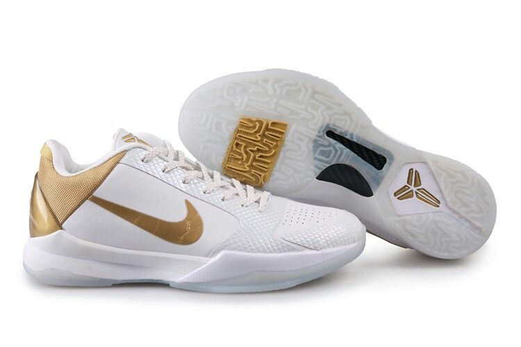 Kobe shoes, White and gold shoes, Nike