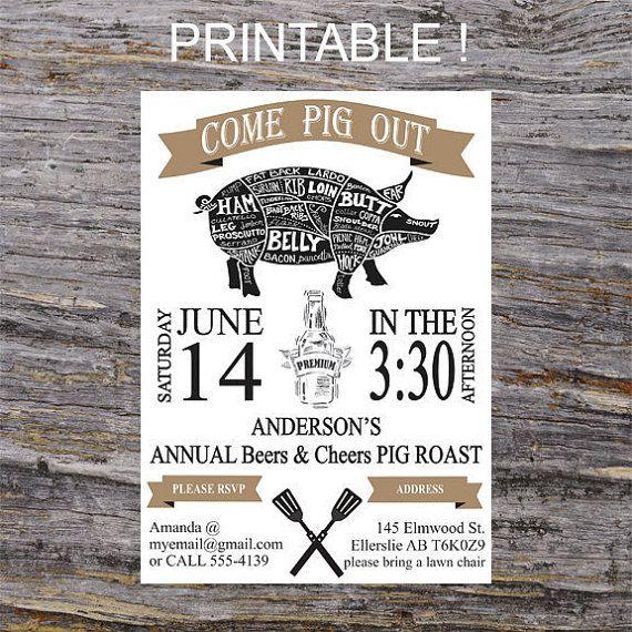 Cheers And Beers Invitation Pig Roast BBQ Invite By RavenzDen PickinWedding MenuWedding
