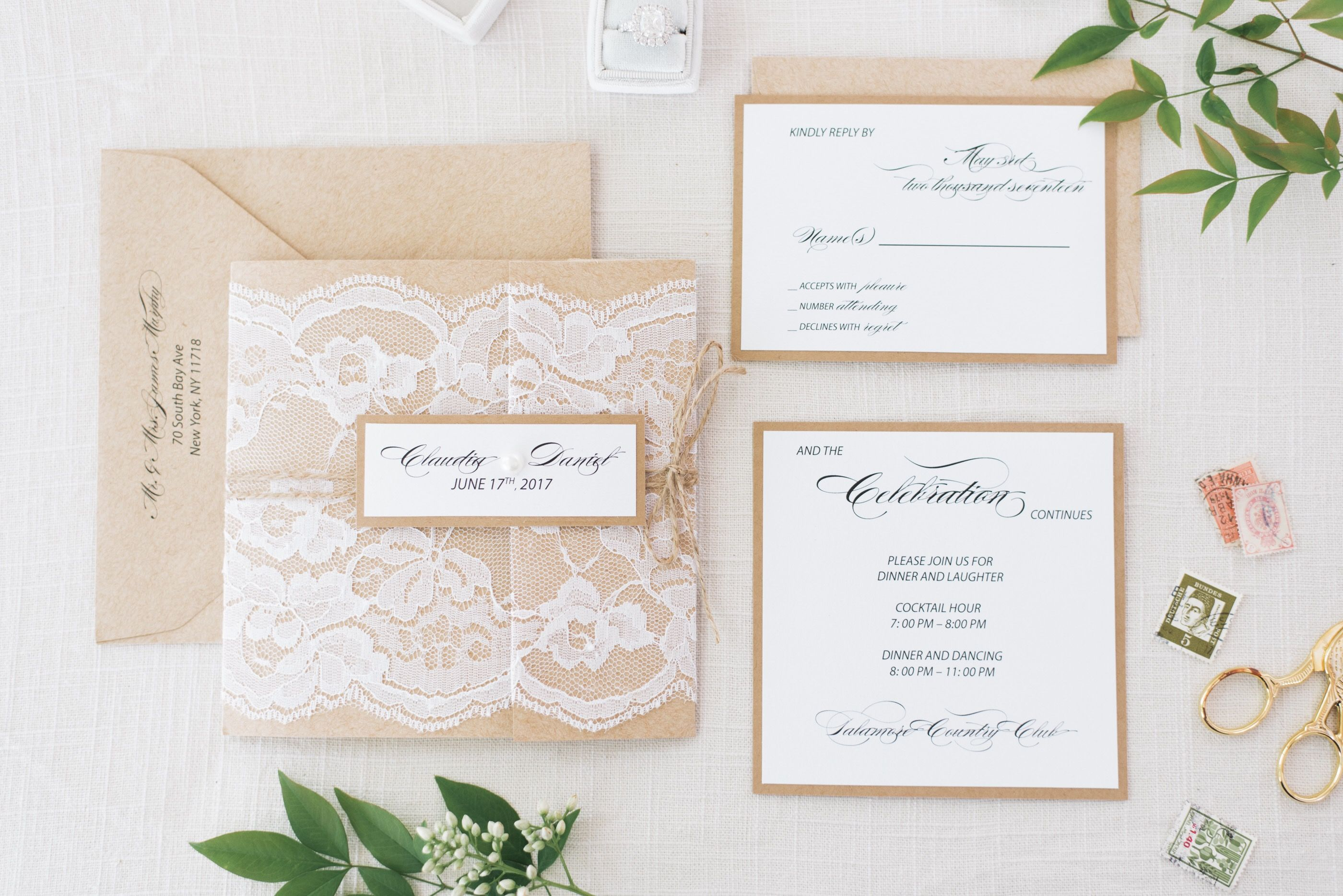 kraft and lace invitation card this invitation is perfect for an