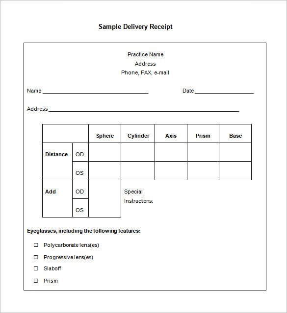 Delivery Receipt Form Receipt Template Doc For Word Documents In - Free editable invoice template eyeglasses online store