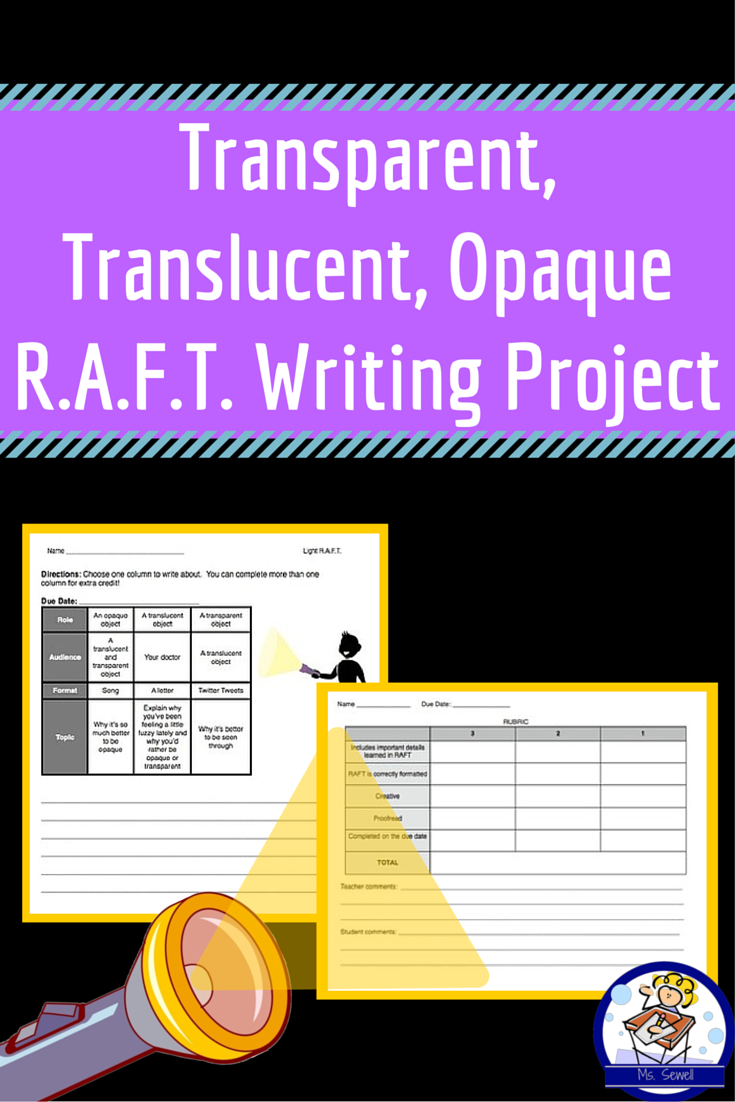 Transparent Translucent Opaque Raft Writing Project Students