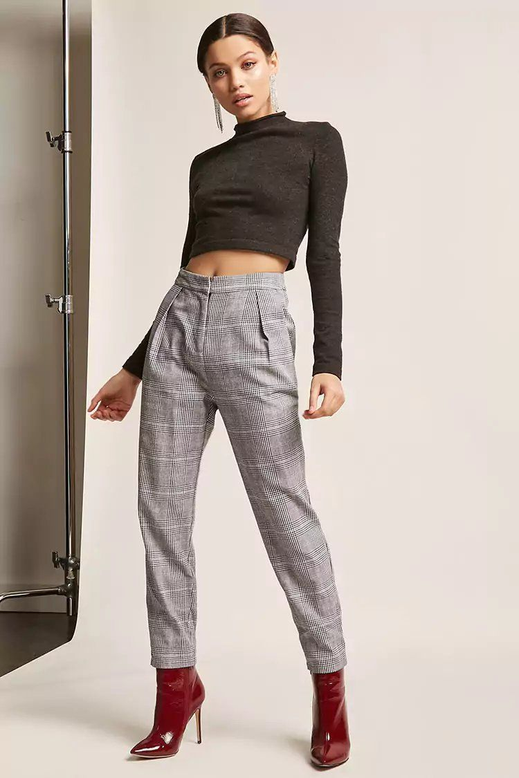 6909a3750a1c Product Name:High-Waist Glen Plaid Pants, Category:CLEARANCE_ZERO,  Price:35. Forever 21 ...