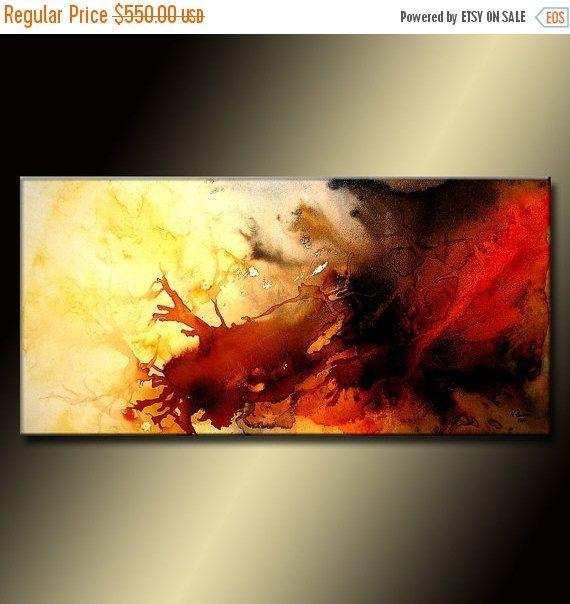 Rojo y negro Resumen pintura gran colorido por newwaveartgallery