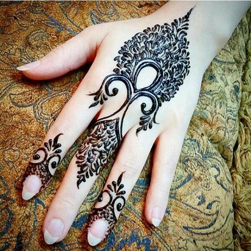 Intricately designed feather Henna design