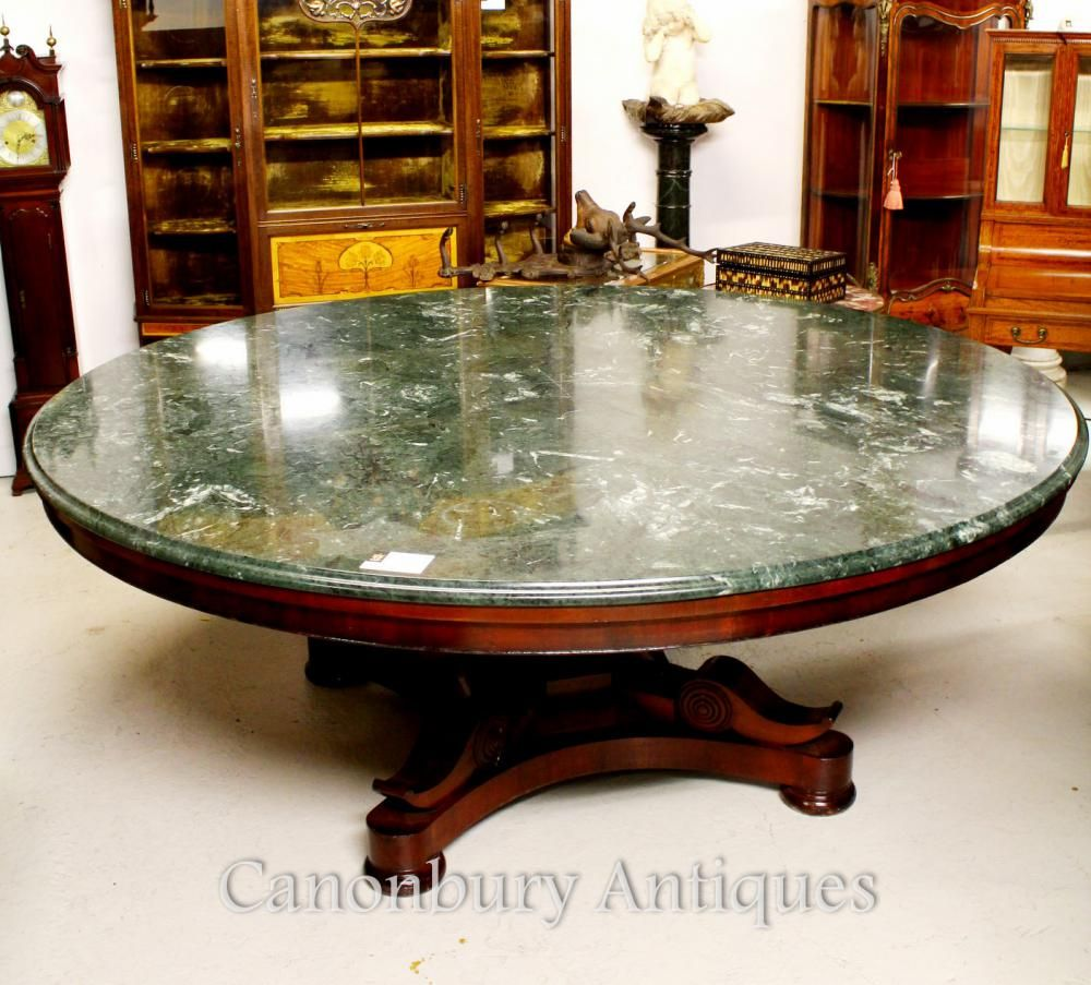 Antique regency centre dining table marble top mahogany