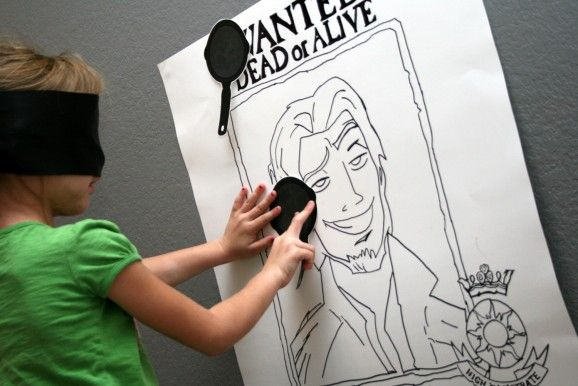 Pin the Frying Pan on Flynn Rider  SUCH a cute idea :D