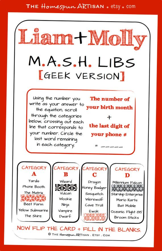 picture relating to Mash Game Printable known as Mash Classes Visuals - Opposite Seem