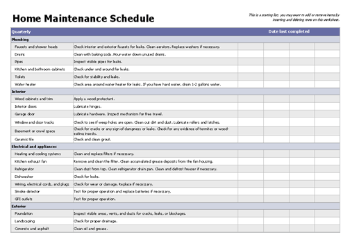 House Maintenance List Template  Templates    Template