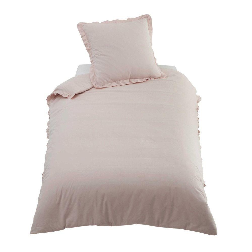 49bddc5a926 Parure de lit en coton rose 140x200 ANAÏS