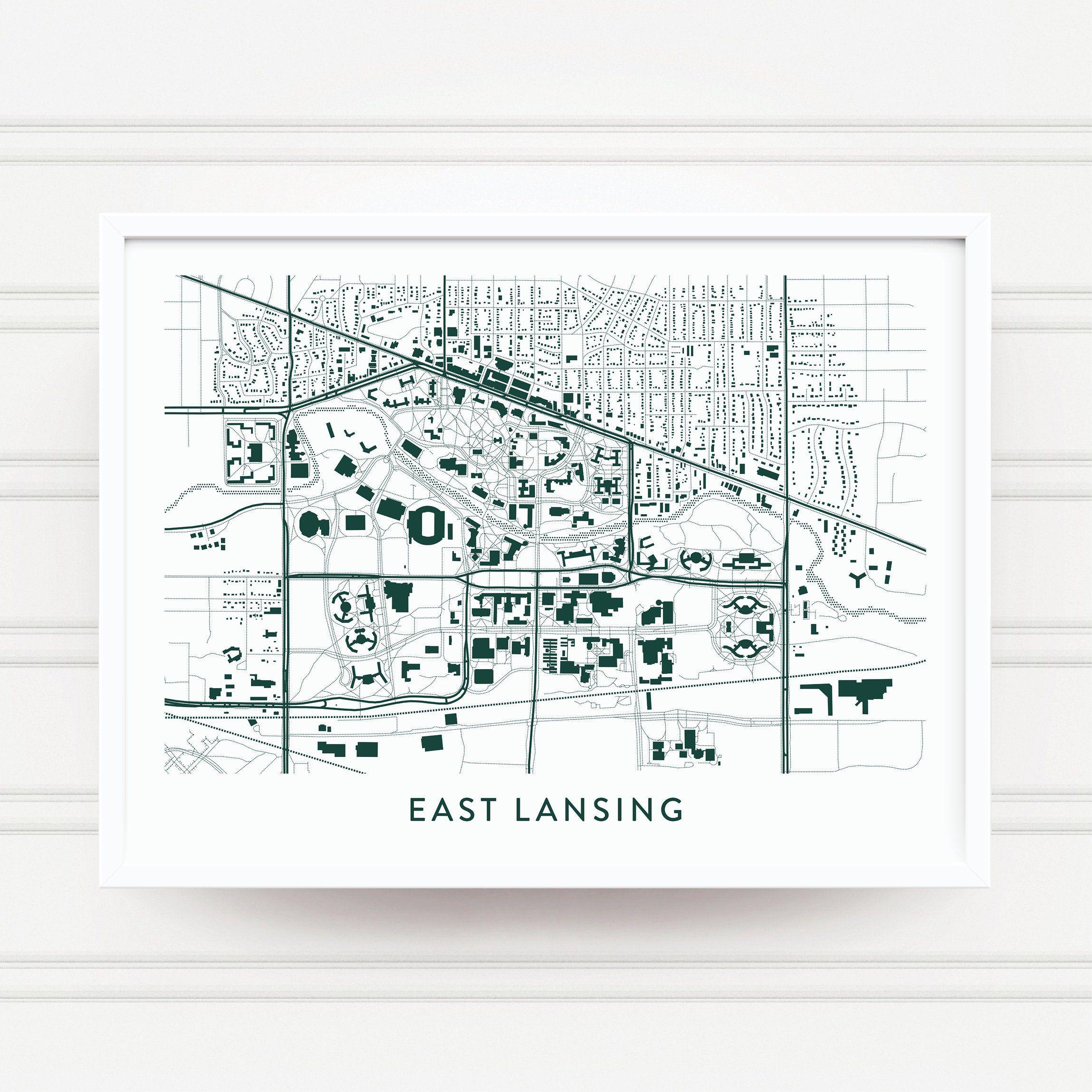 East Lansing MI Map Print / Michigan State Gifts / MSU Spartans Gifts / MSU Souvenir Alumni / Michigan State Spartans Art / Graduation Gift #pictureplacemeant