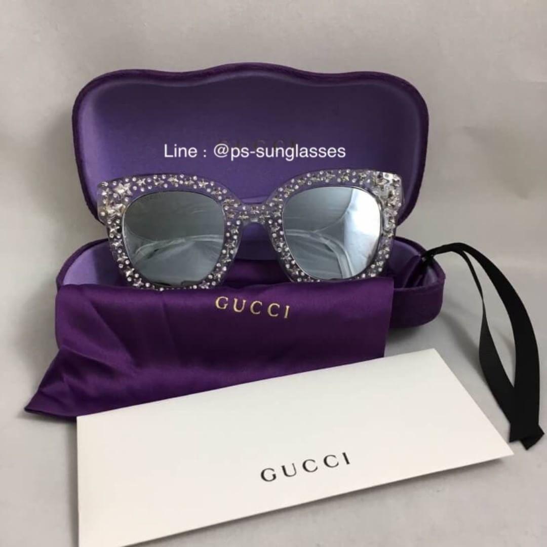 0d1d09dce2 พร้อมส่งค่ะ Gucci Cat eye acetate sunglasses with stars-shaped crystals  แบบคุณวุ้นเส้น