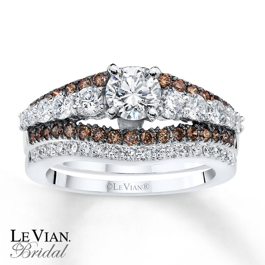best kay chocolate diamonds ct tw bridal set k vanilla gold - Chocolate Diamonds Wedding Rings