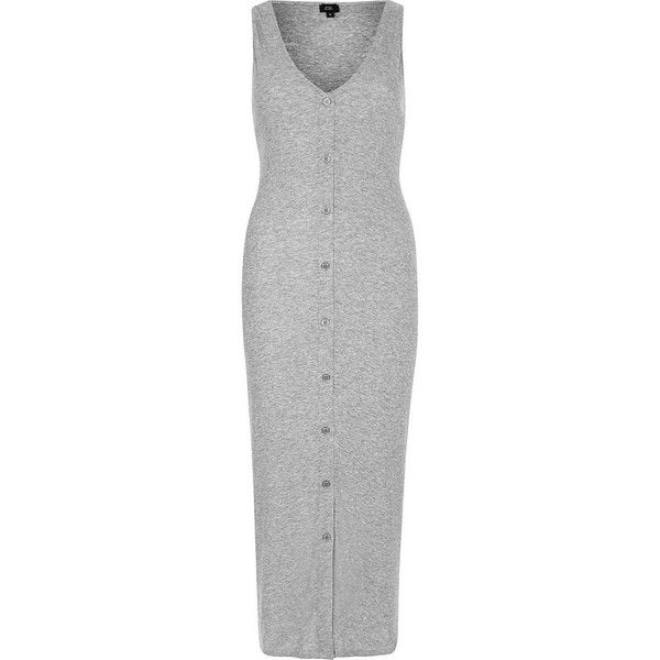 4c011b545294a River Island Grey sleeveless ribbed button-up maxi dress (210 SAR) ❤ liked  on Polyvore featuring dresses