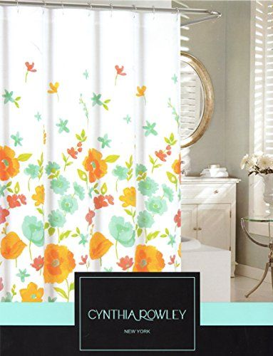 Cynthia Rowley Botanical Nature Cotton Shower Curtain Floral Poppy Seed  Flower Design, Turquoise Green Coral