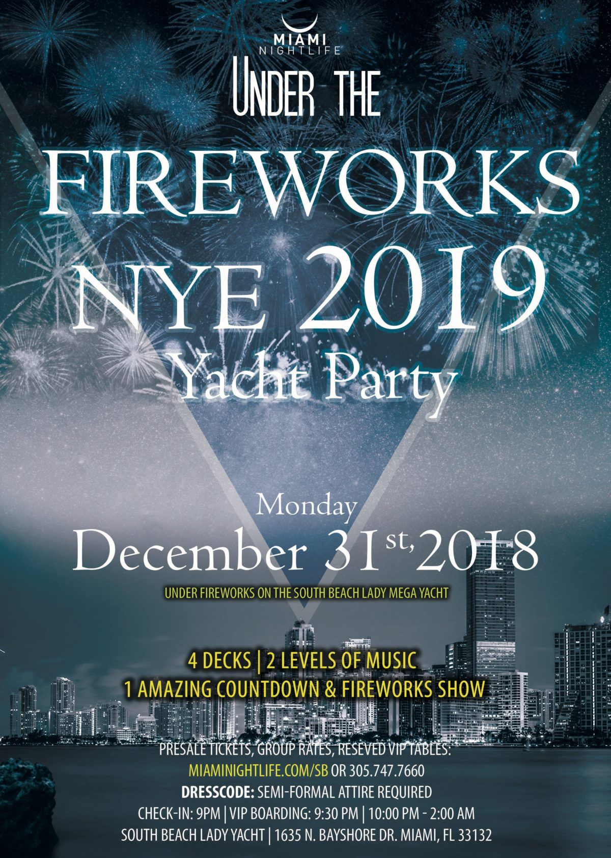 Miami Under the Fireworks Yacht Party New Year's Eve 2019