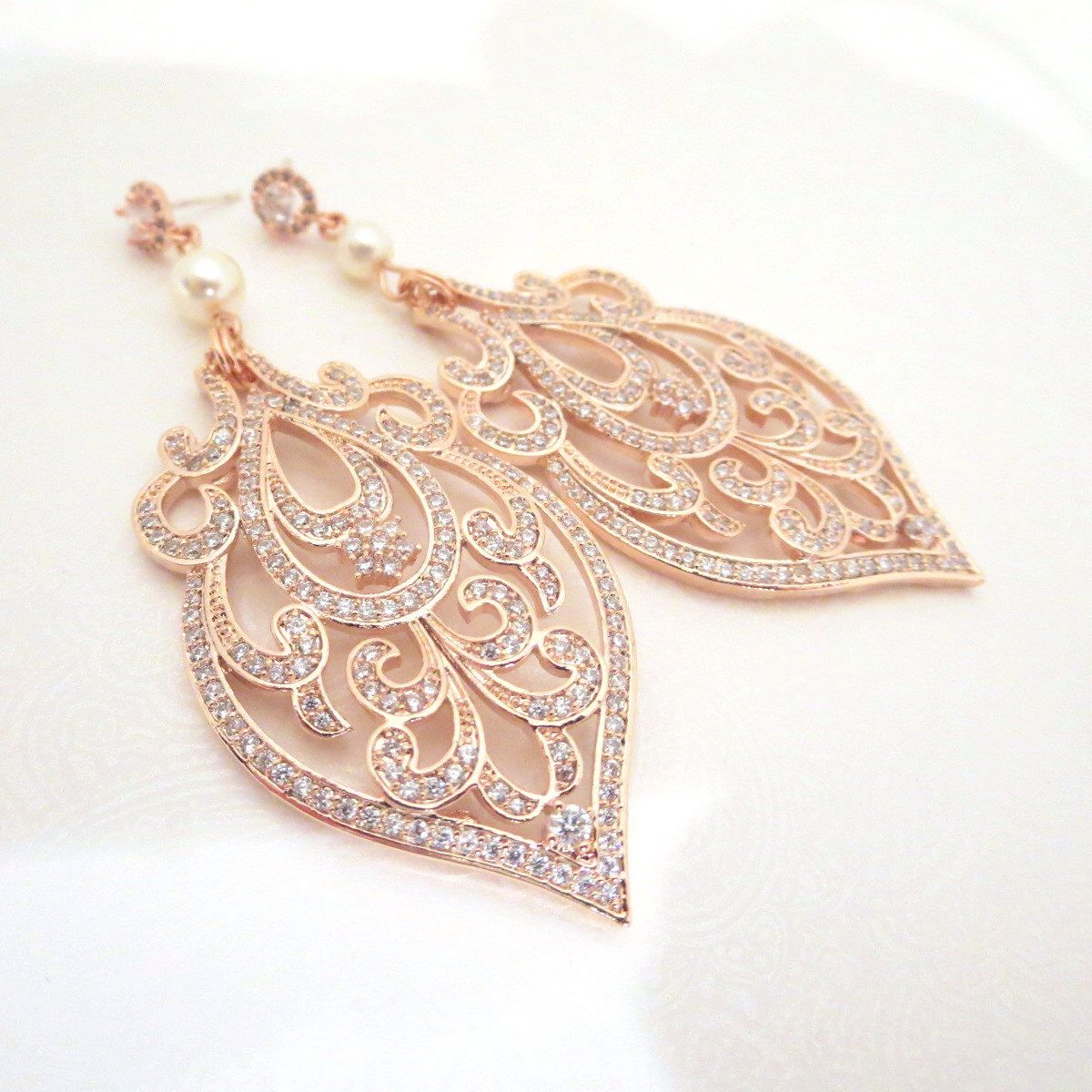 Rose Gold Bridal Earrings Art Deco Wedding Crystal