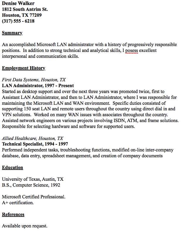 Example Of Lan Administrator Resume  HttpResumesdesignCom