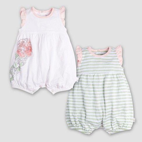 628c84bb3ef0 Burt s Bees Baby Girls  Organic Cotton 2pk Watercolor Bloom ...
