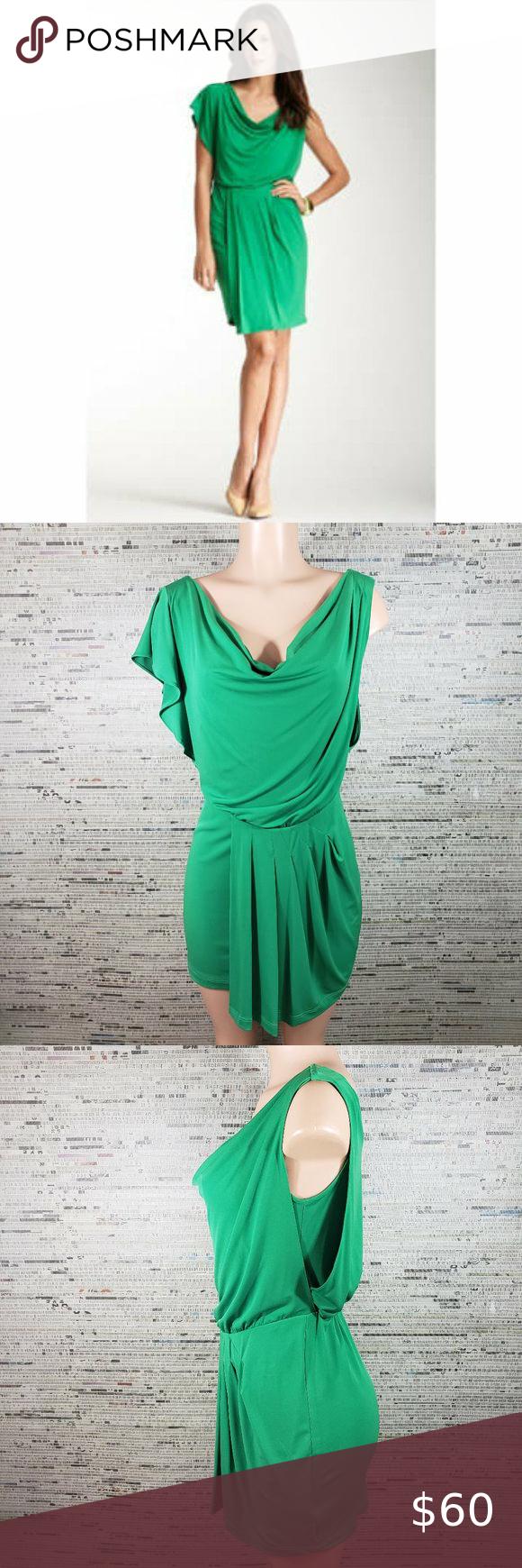 Vince Camuto Green One Flutter Sleeve Draped Dress Necklines For Dresses Long Sleeve Sheath Dress Off Shoulder Floral Dress [ 1740 x 580 Pixel ]
