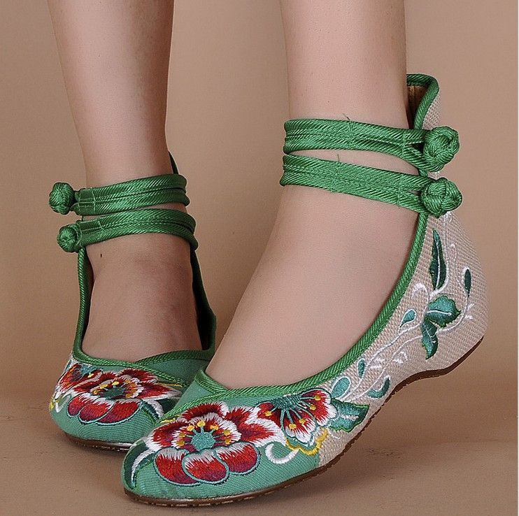 Hibiscus flower embroidery 2015 new high-top double tie buckle Old Beijing cloth shoes bottom flax casual 3Color 34-41 YRZP-01