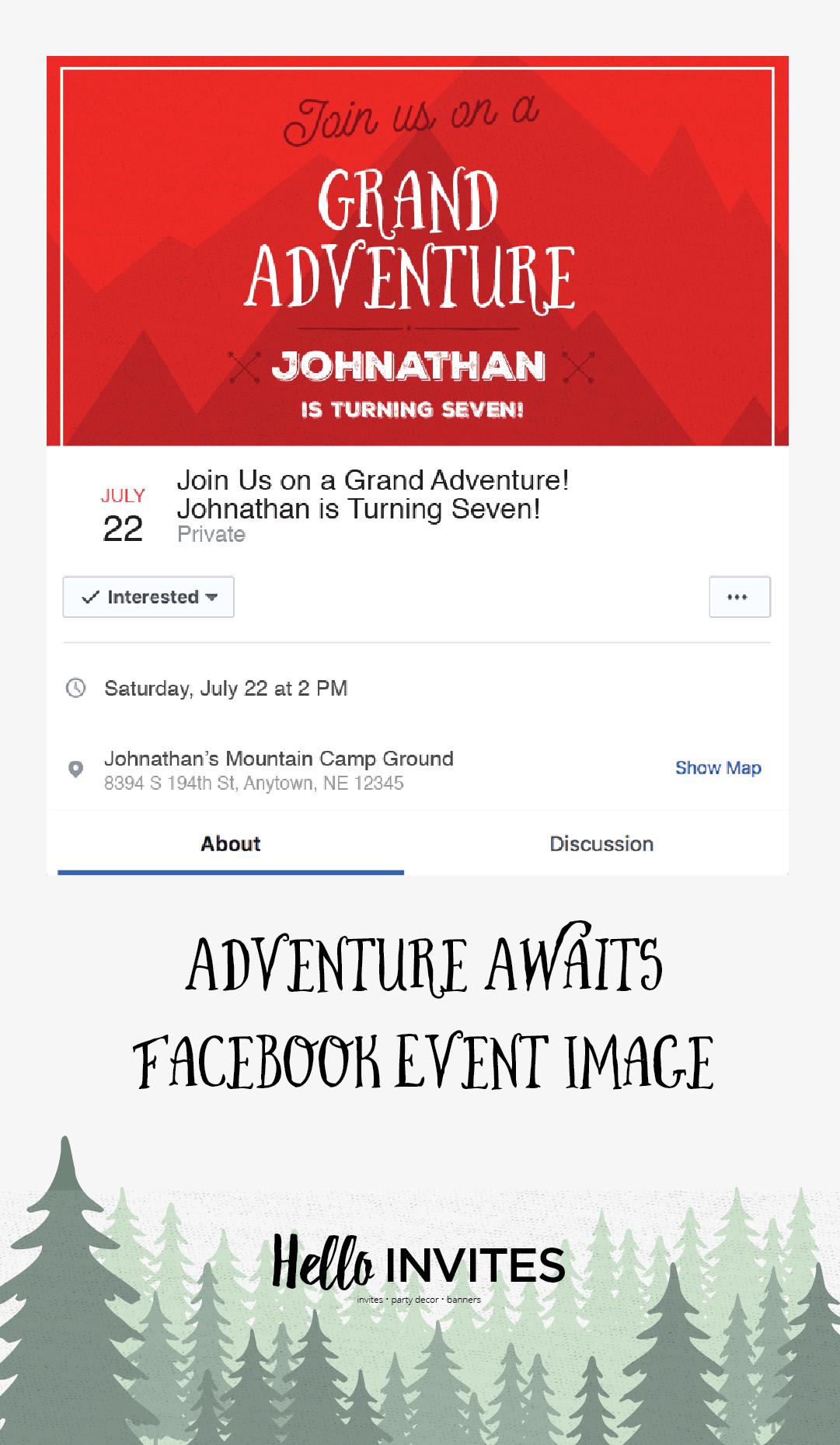 Adventure Awaits Birthday Facebook Event Invitation Red Green Boy