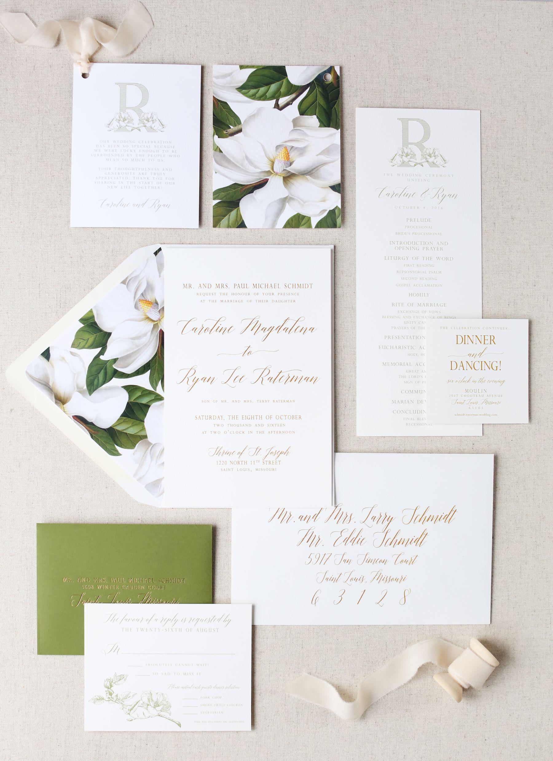 Magnolia Wedding Invitation Wedding Monogram Magnolia Monogram Magn Magnolia Wedding Invitations Green Wedding Invitations Wedding Invitations Stationery