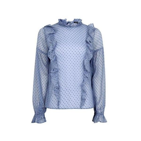 Topshop Spot Ruffle Blouse (£29) ❤ liked on Polyvore featuring tops, blouses, cornflower, sheer tops, sheer sleeve top, sheer ruffle blouse, blue polka dot blouse and sheer sleeve blouse