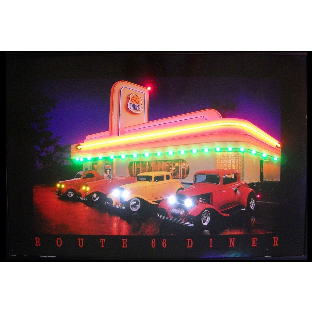 Route 66 Diner Neon Led Picture comes fully framed and ready to hang on your wall. All posters ...