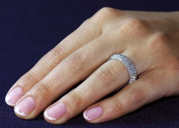 A Vintage Style Two Row 360 degree Micro Pave Russian Lab Diamond Wedding Band or Eternity Ring. Designed with a comfort band for extra comfortability. Beauti