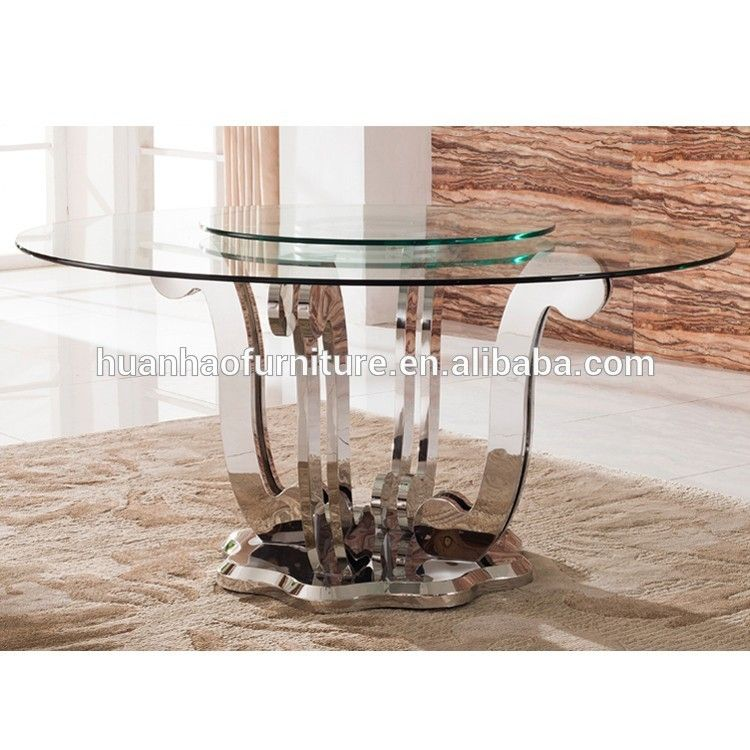 Fashion 6 Seats Stainless Steel Round Rotating Dining Table And Glass Top Dh 831 Glass Table Table Glass Furniture