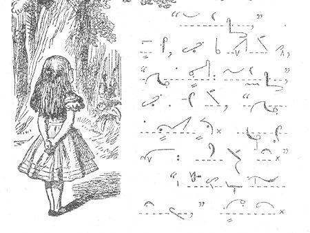 Alice in Pitman shorthand, ca. 1930. Alice has not only been published in spoken languages. Along with Latin and even Klingon, it has also appeared in three different shorthand systems.
