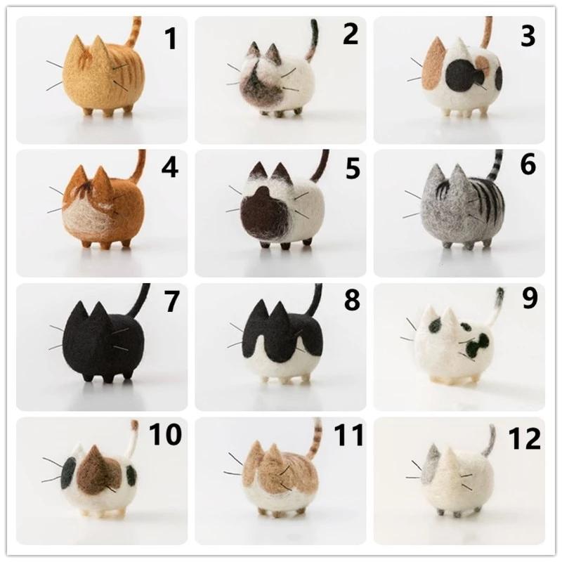 DIY Craft Wool Felt No Face Cat Siamese Shorthairs Doll Material Package Handmade