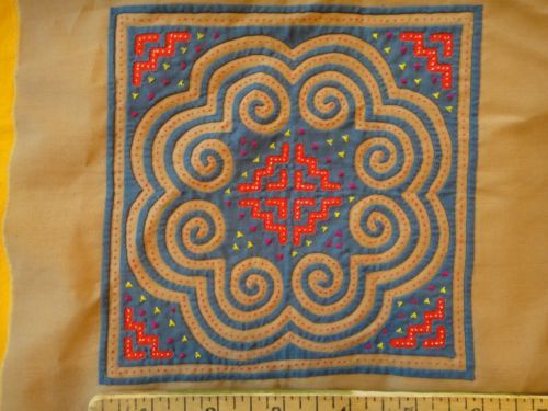 4 Vintage Hmong Reverse Applique Embroidered Quilt Blocks