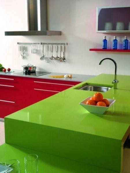 Cocina En Verde Y Rojo Encimeras Encimeras De Cocina Cubiertas