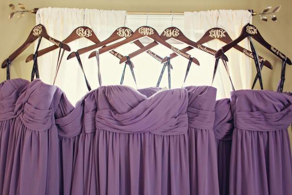 purple bridesmaids dresses, monogrammed bridesmaids hangers, custom bridal hangers, traditional purple monogram wedding, southern wedding, Ginny Corbett Photography