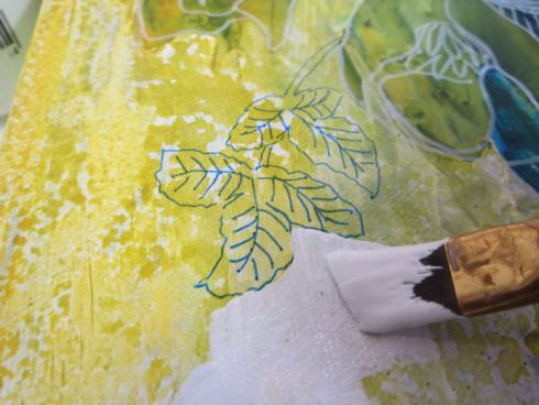 Pouring fluid acrylics and negative painting: A green flower bouquet
