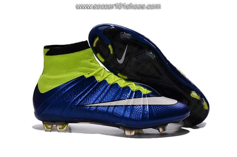 Nike Men's Mercurial Superfly ACC FG Hi Top Football Boot Soccer Cleats  Fluorescent green Royal Blue